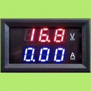 Цифровой ампервольтметр DC 0 - 100V / 50A (Красная/Синяя индикация) + шунт на 50А 75мВ