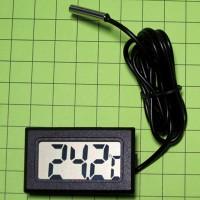 Электронный термометр с выносным водонепроницаемым зондом, провод 1м, цвет черный