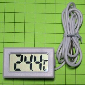 Электронный термометр с выносным водонепроницаемым зондом, провод 1м, цвет белый