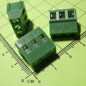 MF128-03P-5.0 Клеммник винтовой, 3 конт., шаг 5.0 мм, зеленый, 300V/10A