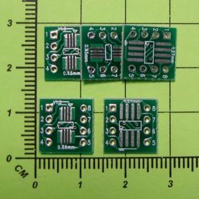 Плата-переходник SOP8, SSOP8, TSOP8 - DIP8, шаг 1.27мм / 0.65мм, двухсторонняя