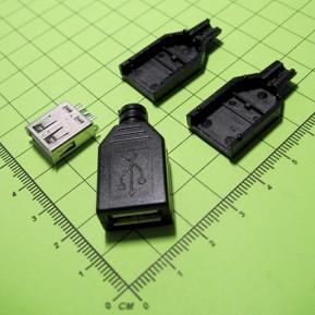 USB-A, Розетка на кабель, 4 контакта